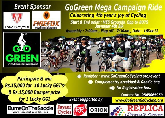 go green go cycling event in Jayanagar