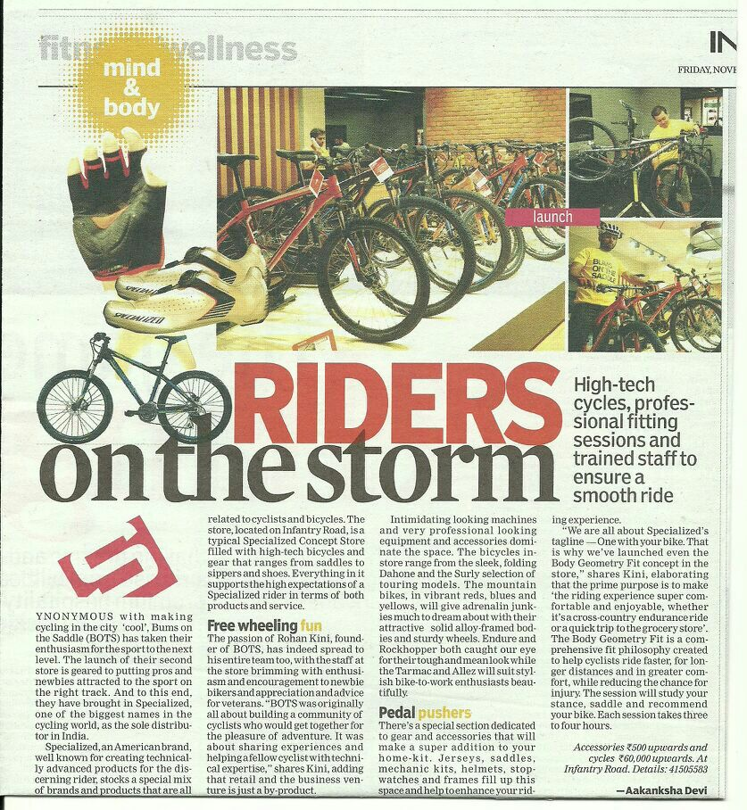 BumsOnTheSaddle and Specialized in the news | rides on the storm | 15 Nov 2013 | Indian Express