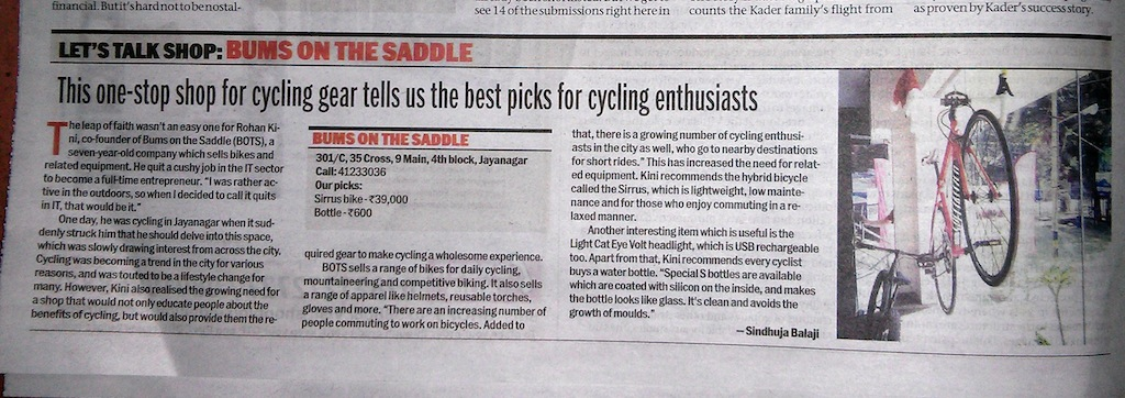 BOTS in Bangalore Mirror - one stop bicycling store for bangalore