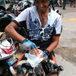dipankar paul - eating a yummy Corner House DBC to kickoff his 1200km ride!