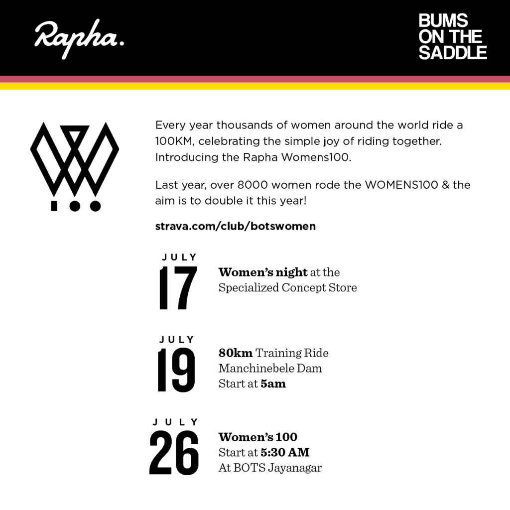 Rapha Womens100 ride event lineup