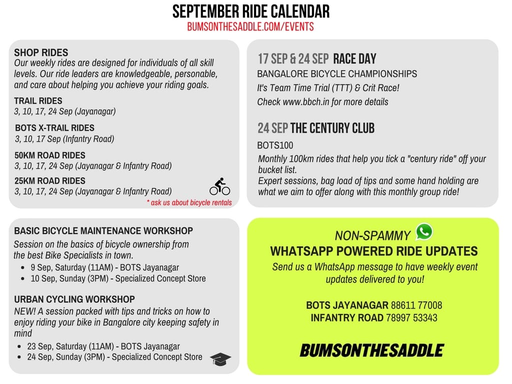 201709 - BOTS September Bangalore Cycling events