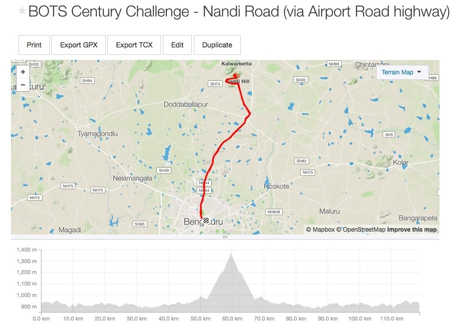 Bangalore Cycling Routes - Nandi (fast highway route)